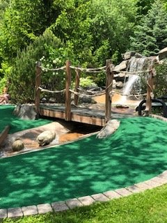 Newly carpeted hole # 5 looking back at bridge and waterfall.