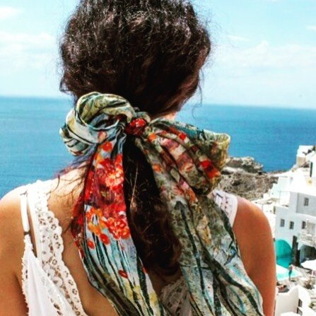 A beautiful take on how to wear our silk scarves (made in KY by Sharon Tesser)!