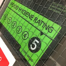 Rating of 5 on the Food Hygiene Inspection