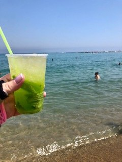 My eight euro mojito that I bought from a guy walking down the beach.  It was better than I thought it might be, and it was a nice addition to my short stay on the beach.
