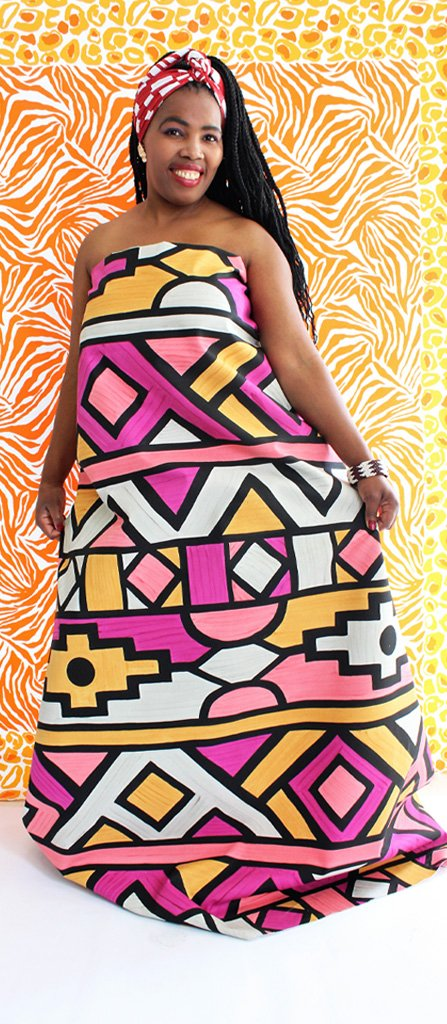 Veronica modeling our Ndebele hand-painted Fabric :)