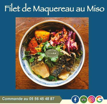 Plat du mois d'octobre : Filet de maquereau mijoté au miso, avec du potimarron cuit à la japonaise dans le dashi, accompagné de riz, carottes et chou rouge.