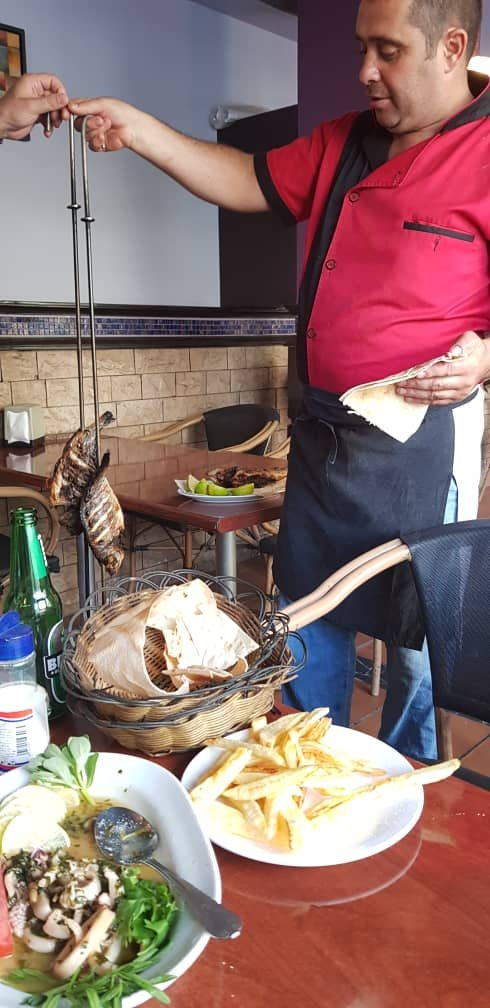 Fresh BBQ fish served from the chef...