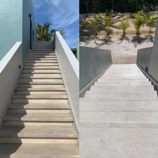 Stairs up/down to room is treacherous without railings