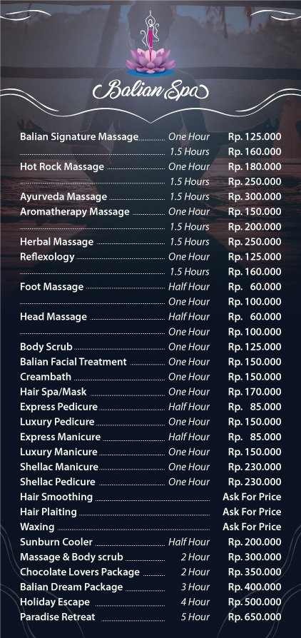 Our price list