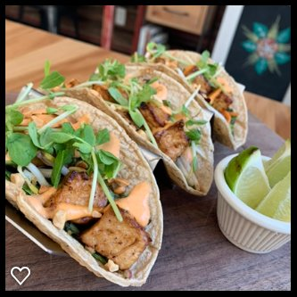 Special not always on the menu. Tofu Pad Thai Tacos. All vegan plant-based.