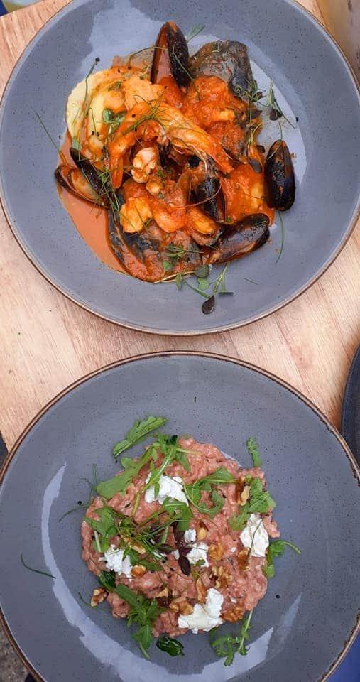 Beetroot risotto and smoked haddock ravioli