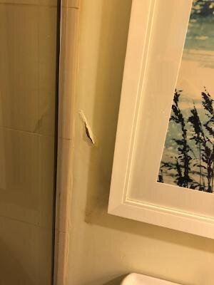blistered paint in bathroom