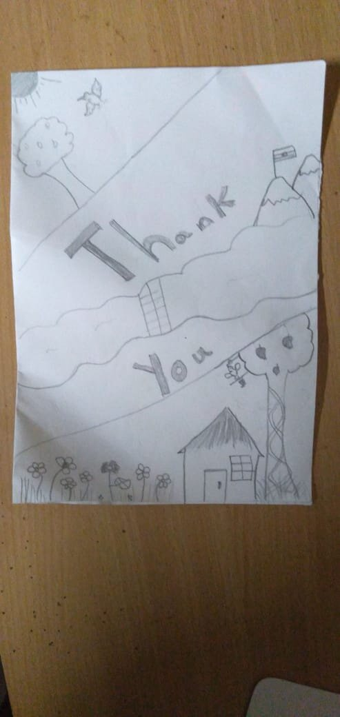 My daughter made this card for the Kadumane family...