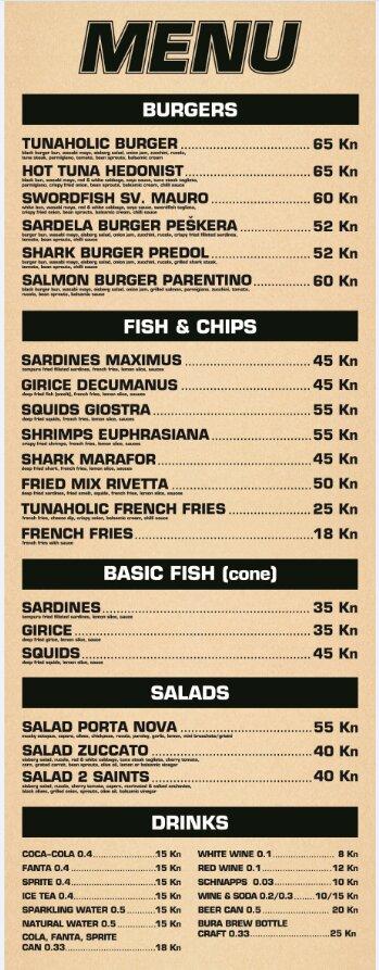 Tunaholic Fish Bar Rovinj, Zdenac 11 - menu