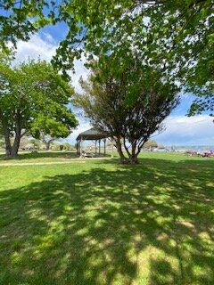 A view of one of the sheltered picnic areas.