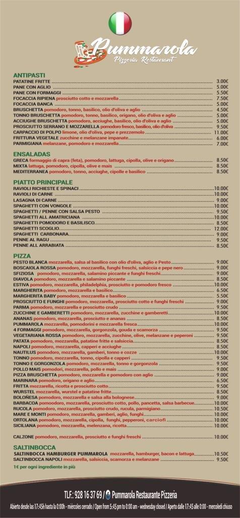 Menú italiano