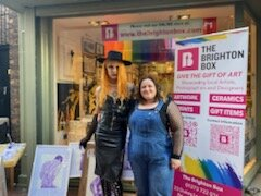 Violette J'adore & Lorenxa Gamberi outside The Brighton Box Gallery