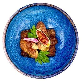 Foie gras poêlé sur un pain d'épice perdu, rhubarbe et jus à la Chimay Dorée