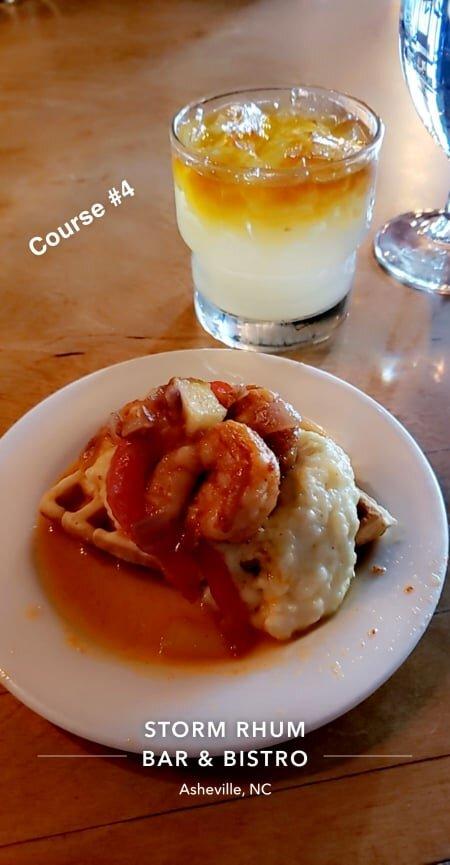 shrimp & grits w waffle and maple glaze