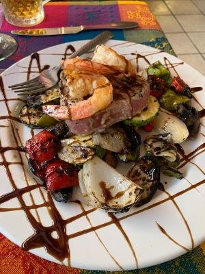 Seared ahi special with garlic shrimp