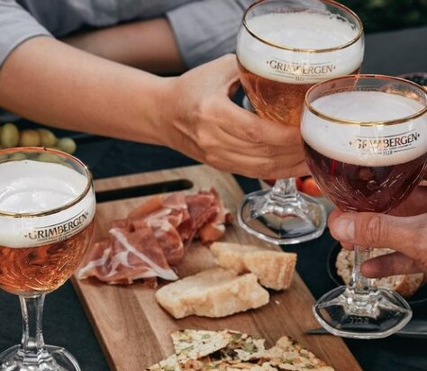 Vinaria Kiti : the Belgian Grimbergen Abbey Beers Blond & Double exclusive on draught with small platters of your choice - such as Jamon Serrano and Manchego Cheese
