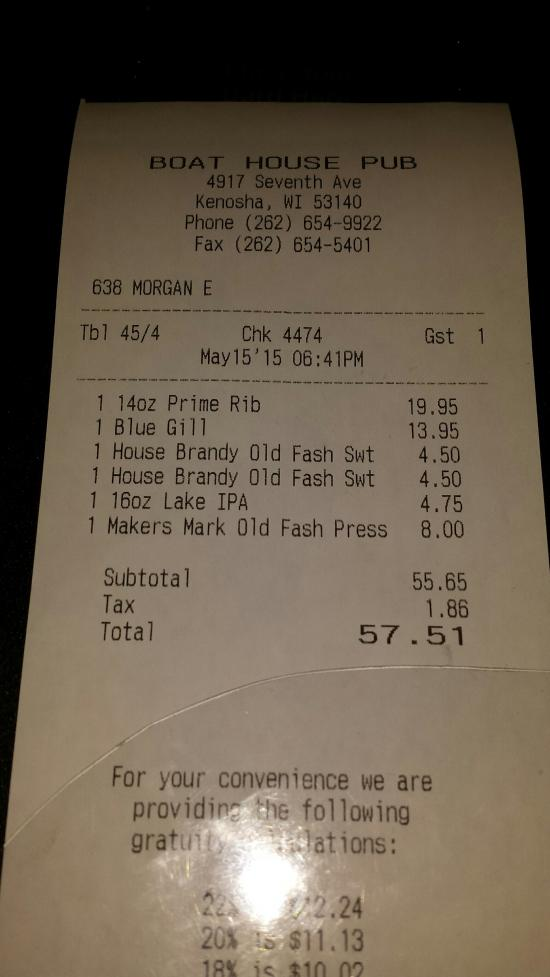 Our bill that contains an error and was never corrected.