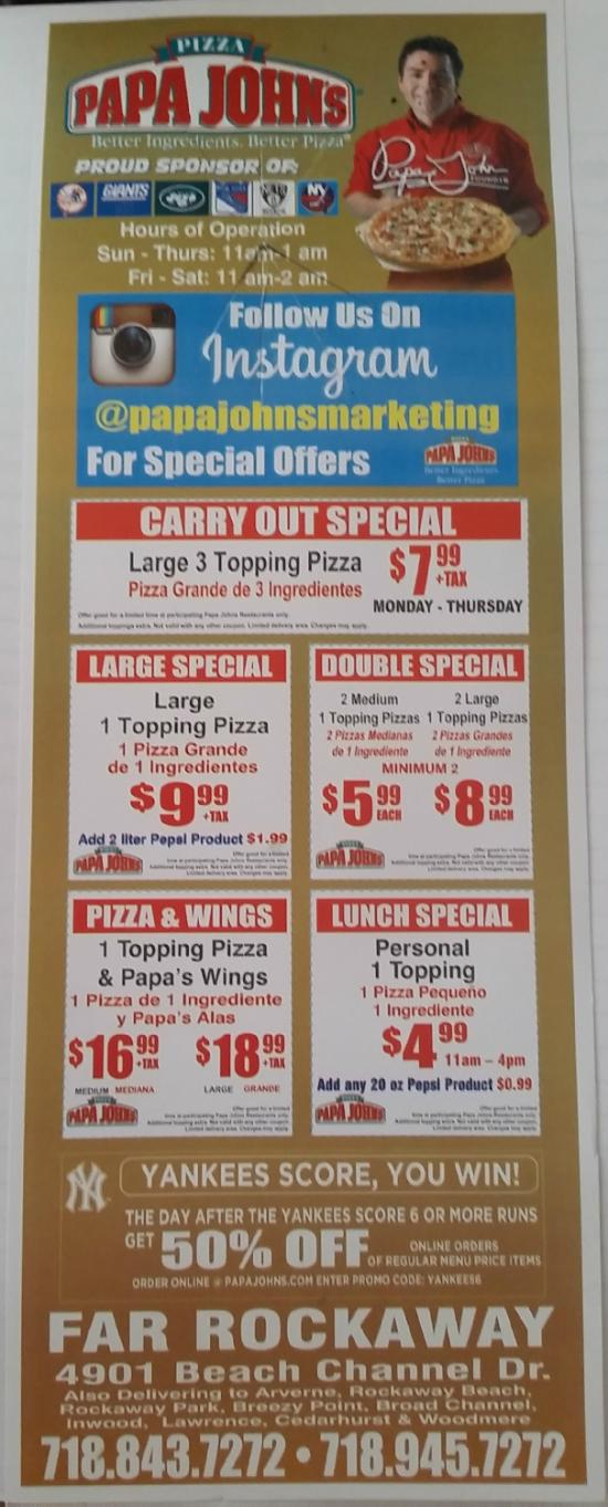 Papa John 39 S Pizza Far Rockaway Restaurant Reviews Phone Number Photos Tripadvisor