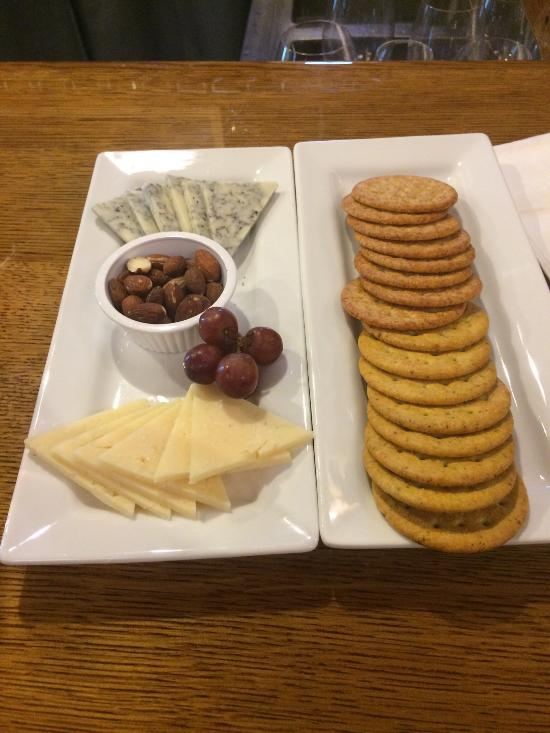 Two selection of cheese with Eau Galle Italian and a BluJack followed by a nice Pinot Noir from