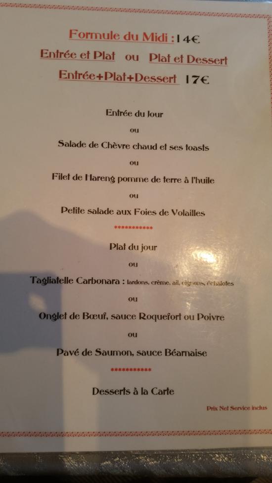 Restaurant Chez Papa Nice Menu