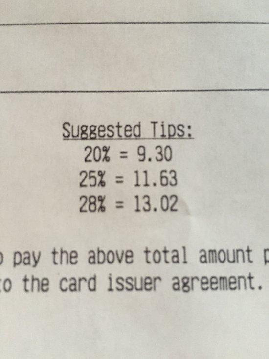 Presumptuous to expect a 20-28% tip.