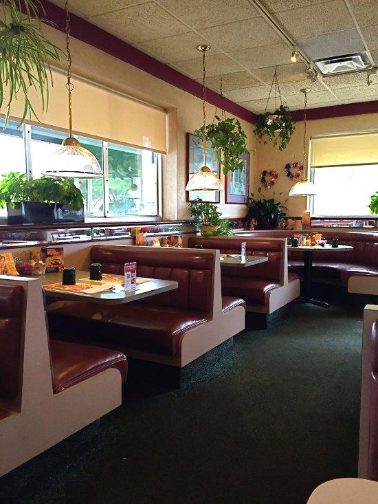 Bright, friendly dining room