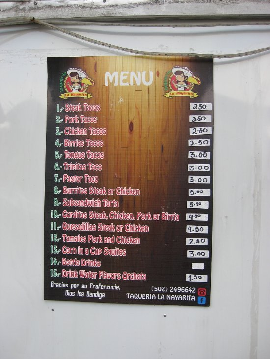 Menu with the prices