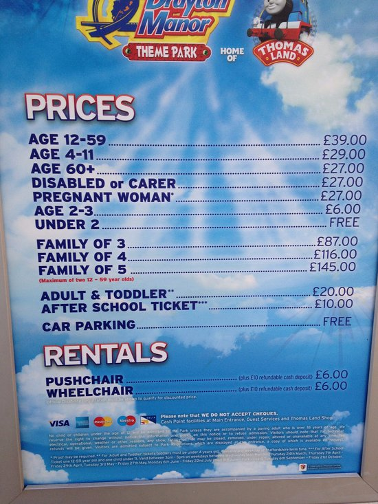 Prices - Toddler pricing is good value!