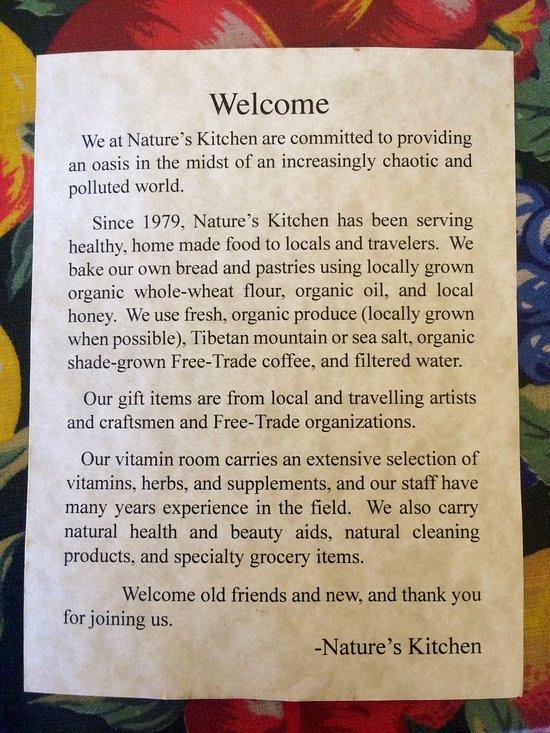 Nature Kitchen Yreka Ca Menu