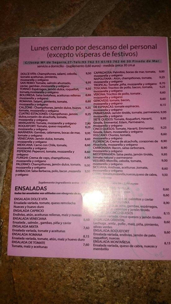 Dolce vita pineda de mar restaurant reviews photos for Restaurant pineda de mar
