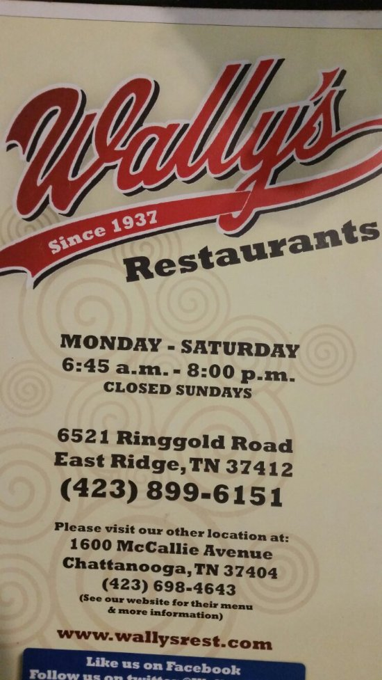 Wally S Restaurant Chattanooga 6521 Ringgold Rd Menu Prices Reviews Tripadvisor