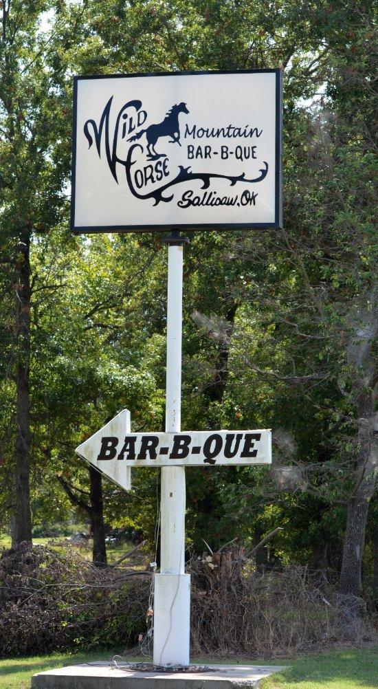 Entrance to Wild Horse Mountain BBQ near Sallisaw, OK
