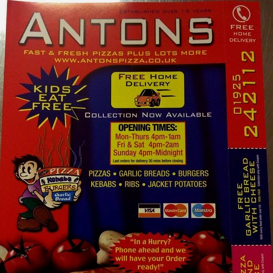 Antons Pizza Warrington Menu Prices Restaurant