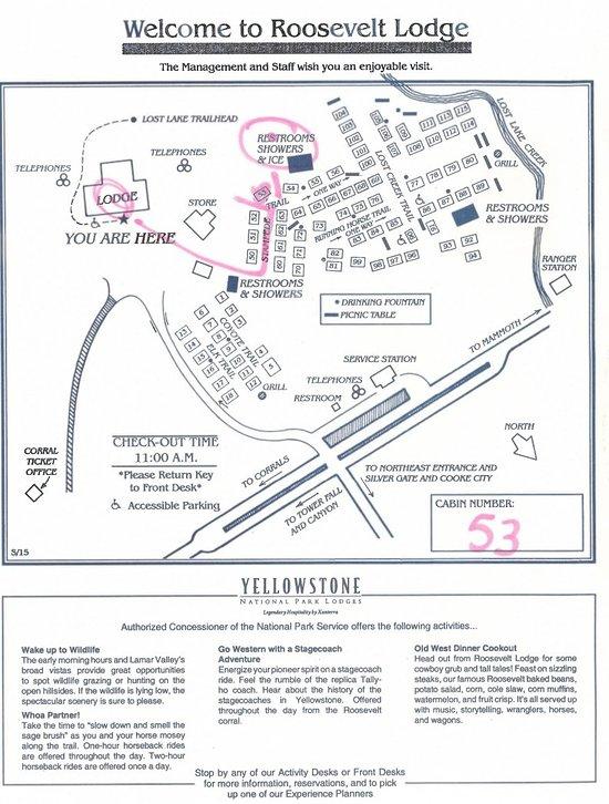Yellowstone Accommodations Map on