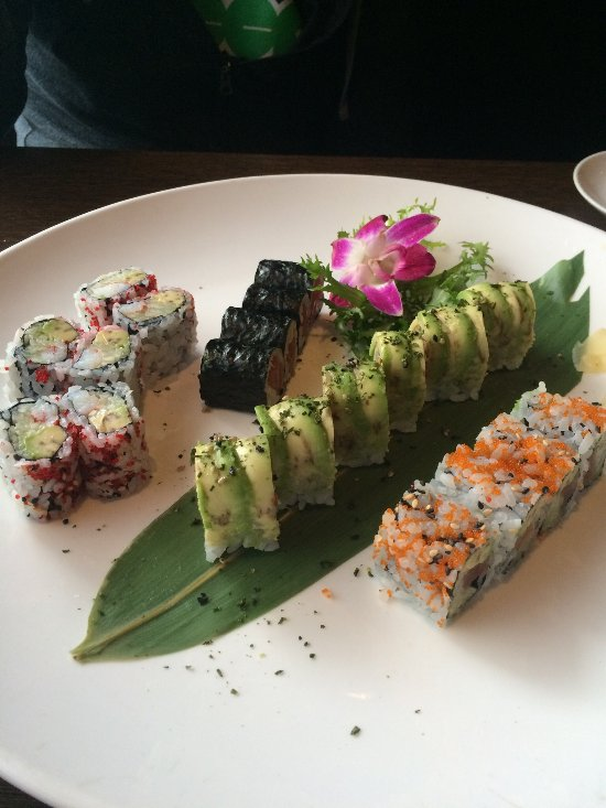 From left to right: King Crab roll, tuna roll, fantasy roll, and tuna cucumber avocado roll