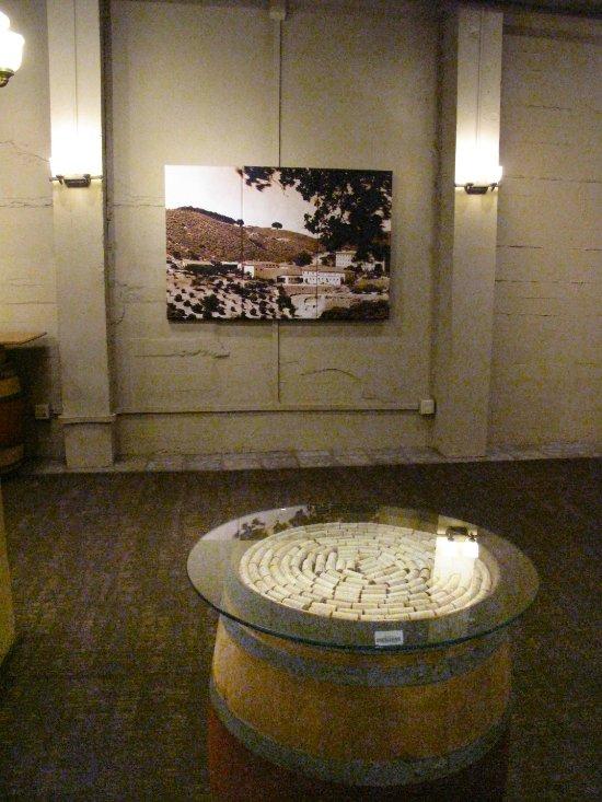 Testarossa Winery - Los Gatos - Tasting room wine cork table and historic photos