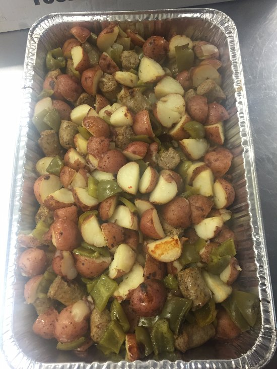 Sausage, potatoes and peppers from our catering menu