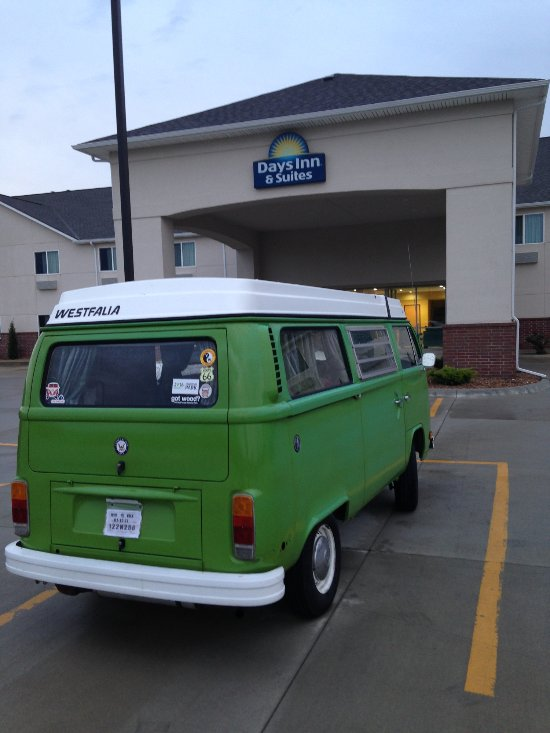 My VW Bus, Pancho Verde, at the Days Inn (yes, it's a camper - I needed electricity and a shower