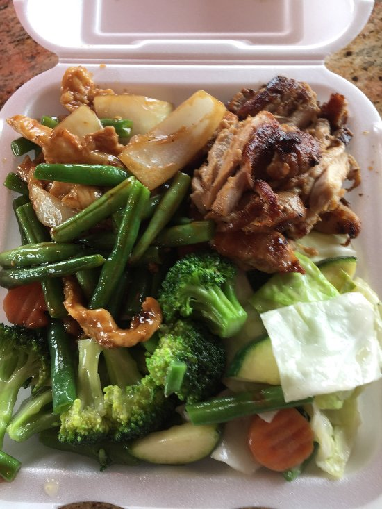 Chicken teriyaki, mixed veg and chicken and green beans