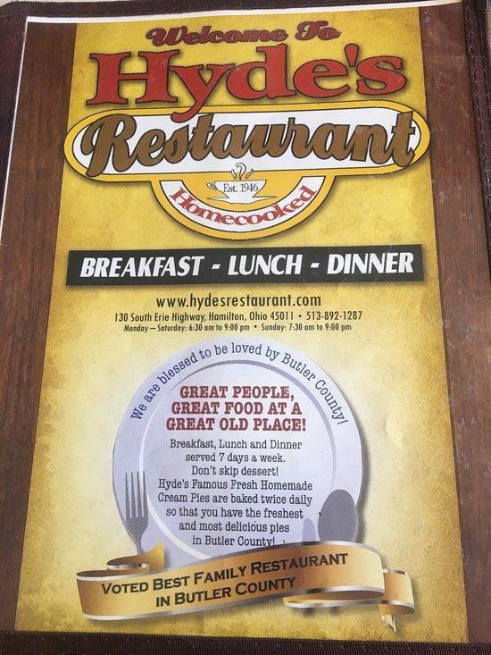 Hyde S Restaurant Hamilton Menu Prices Reviews Tripadvisor