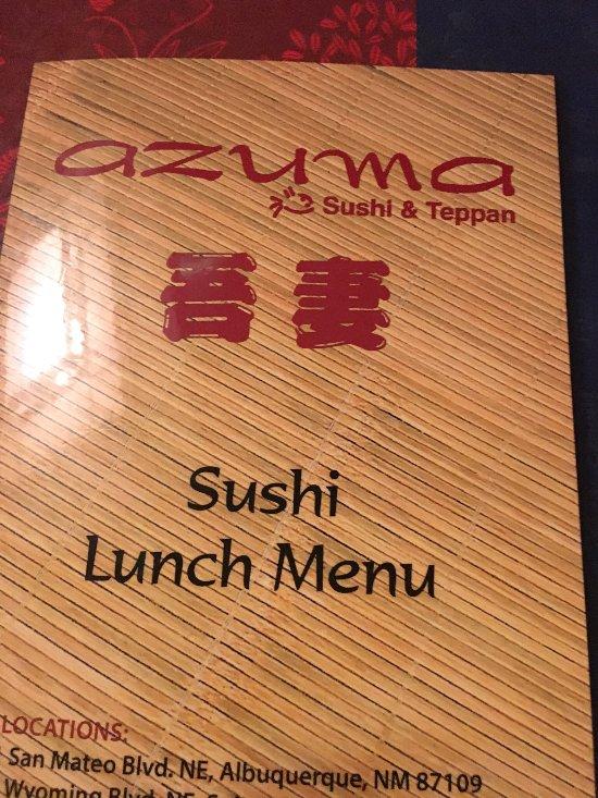 Azuma Restaurant Albuquerque Menu