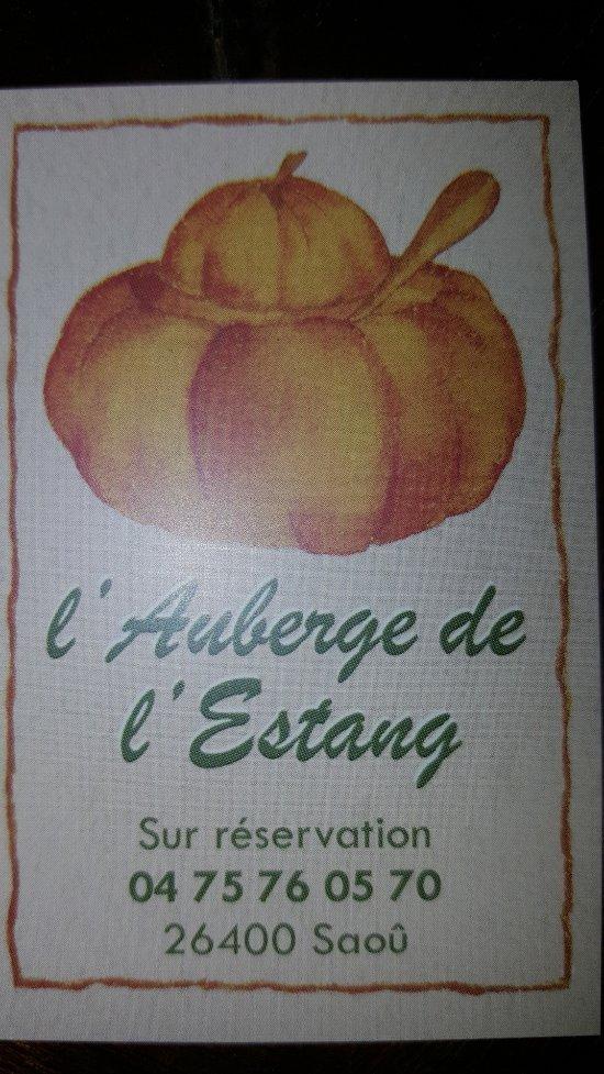Restaurant Auberge De L Estang Saou Prix