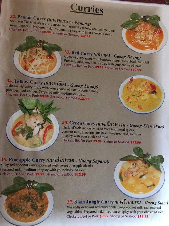 Siam Garden Cafe Menu Hawaii