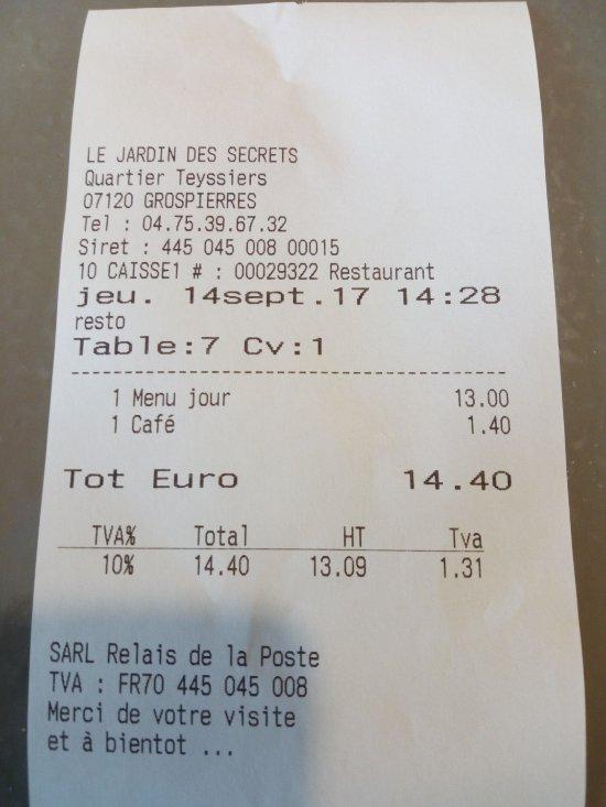 Le jardin des secrets grospierres restaurant avis for Rapport qualite prix cuisine