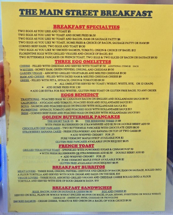 Main Street Cafe Stockbridge Ma Menu