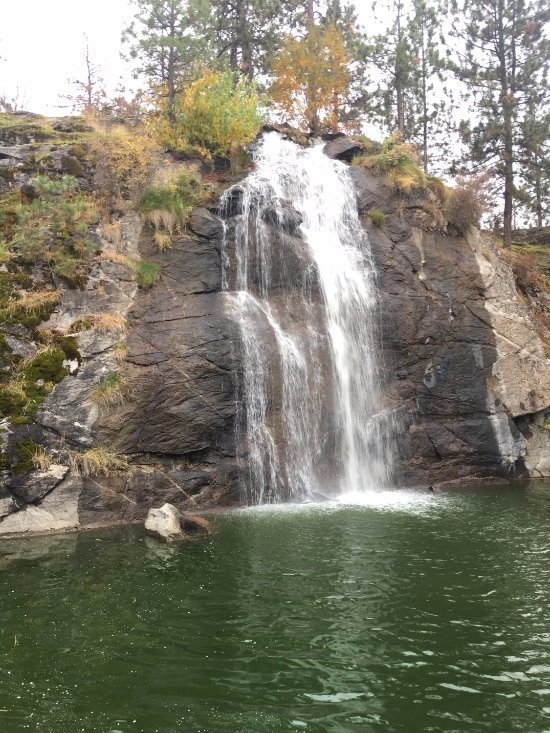 Waterfall. Dock in front allows for great photo op.