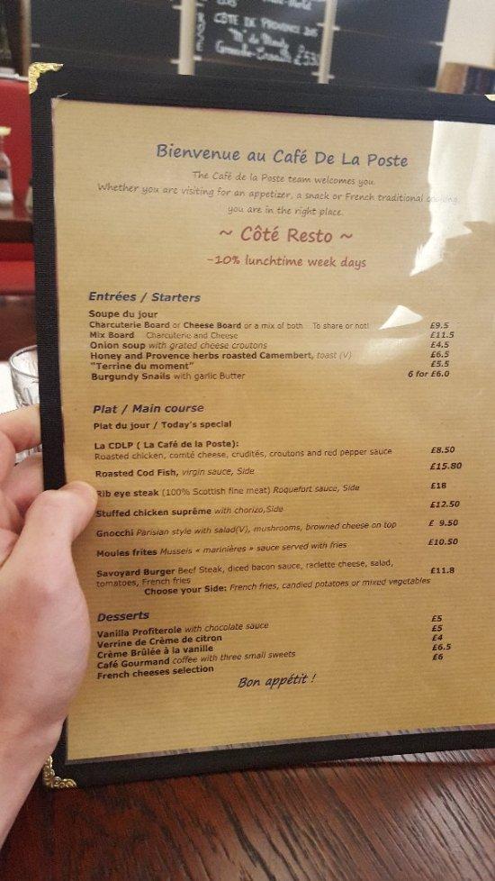 Cafe de la Poste Edinburgh Southside Holyrood Restaurant