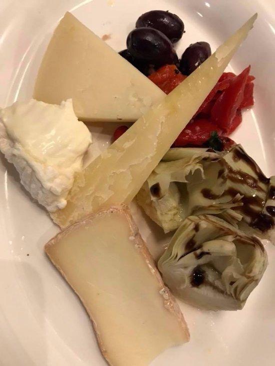 Italian Cheese Platter -- La Tur, Taleggio, Piave, and Pecorino Sardo with Roasted Pepper, marin