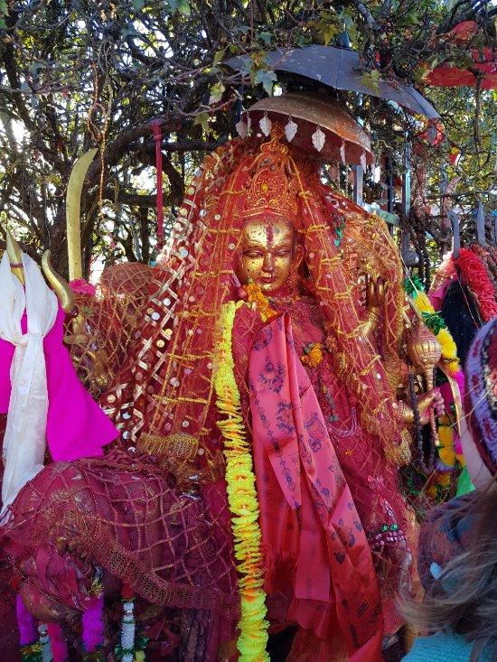 The statue of Goddess Pathibhara at the Pathibhara Devi Temple